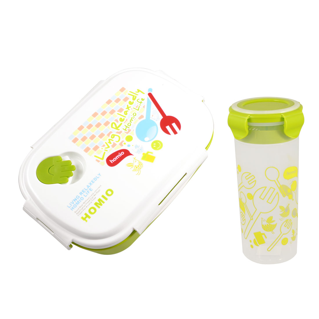 White Plastic Lid Yellowgreen Lunch Box Food Container w Water Bottle