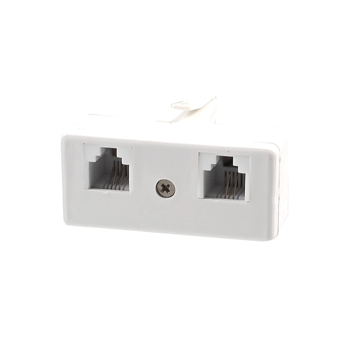 BT 1 Male to 2 Female US RJ11 Socket Adapter White for Telephone