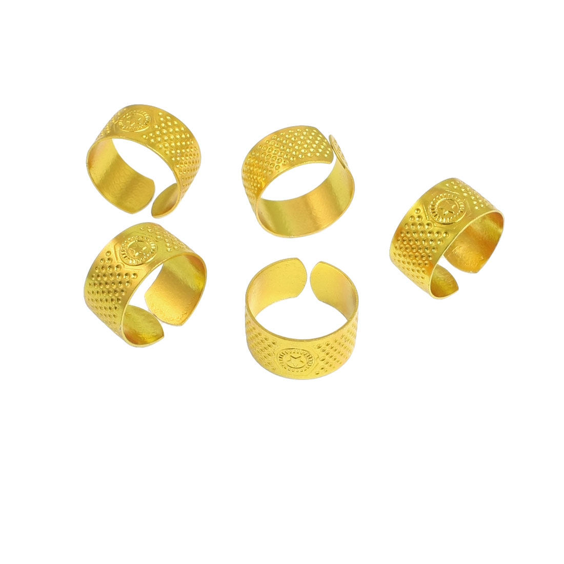 5 Pcs 21mm Diameter Gold Tone Metal Ring Reeded Thimble for Tailoring Sewing
