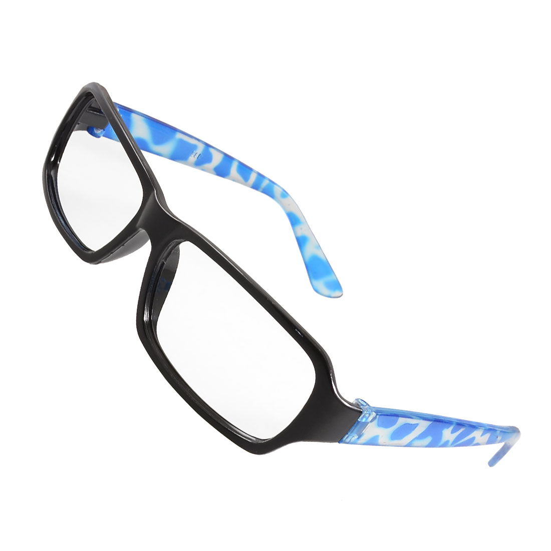 Woman Blue Leopard Print Clear Arms Full Rim No Lens Glasses Frame