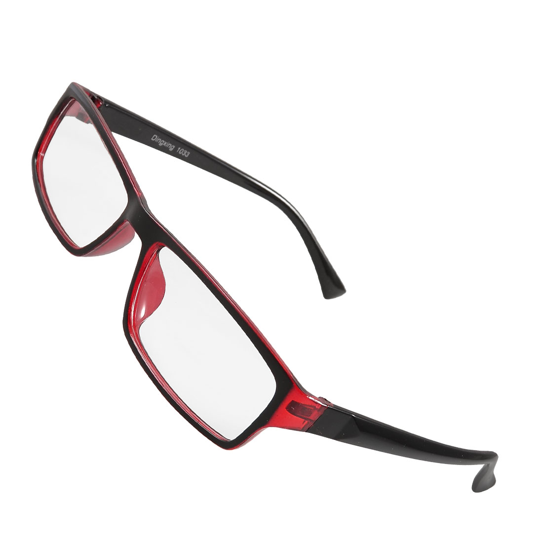 Ladies Red Black Plastic Full Frame Clear Lens Plain Glasses