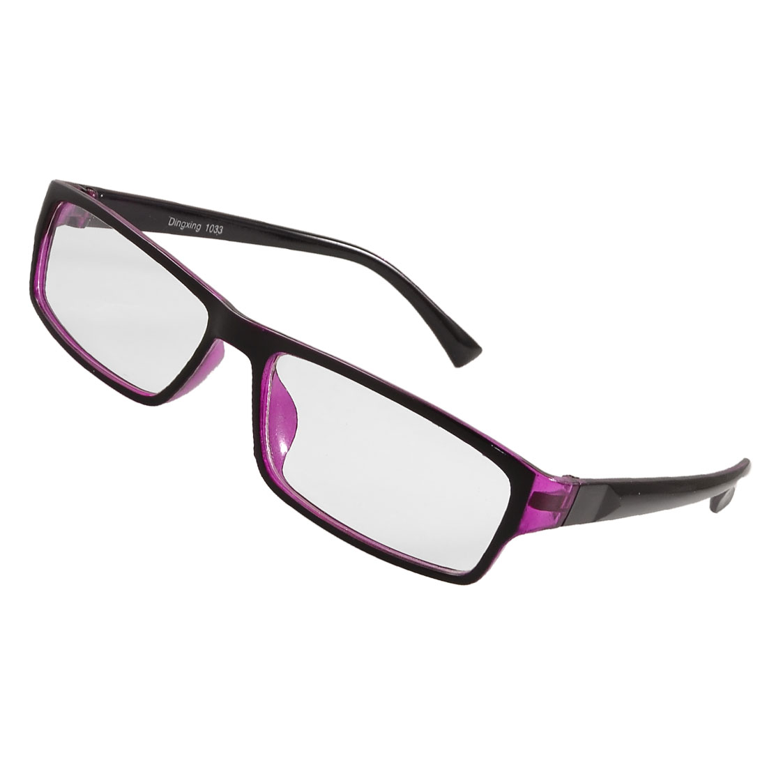 Woman Purple Black Rim Rectangle Lens Plano Eyeglasses Glasses