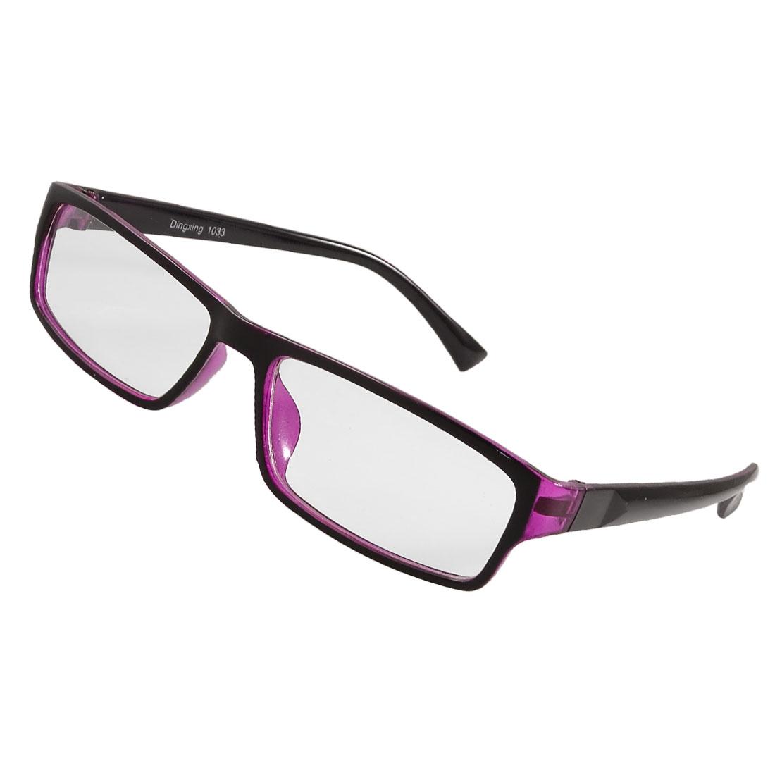 Woman Purple Black Rim Rectangle Lens Plano Eyeglasses Glasses