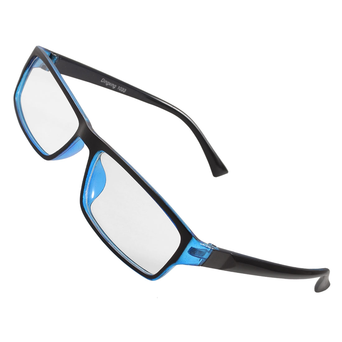 Black Blue Rimmed Plastic Arms Clear Lens Spectacles for Women