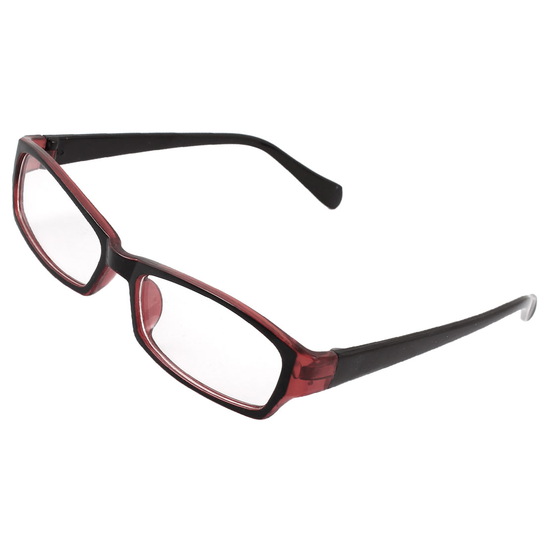 Black Burgundy Rimmed Plastic Arms Clear Lens Spectacles for Women