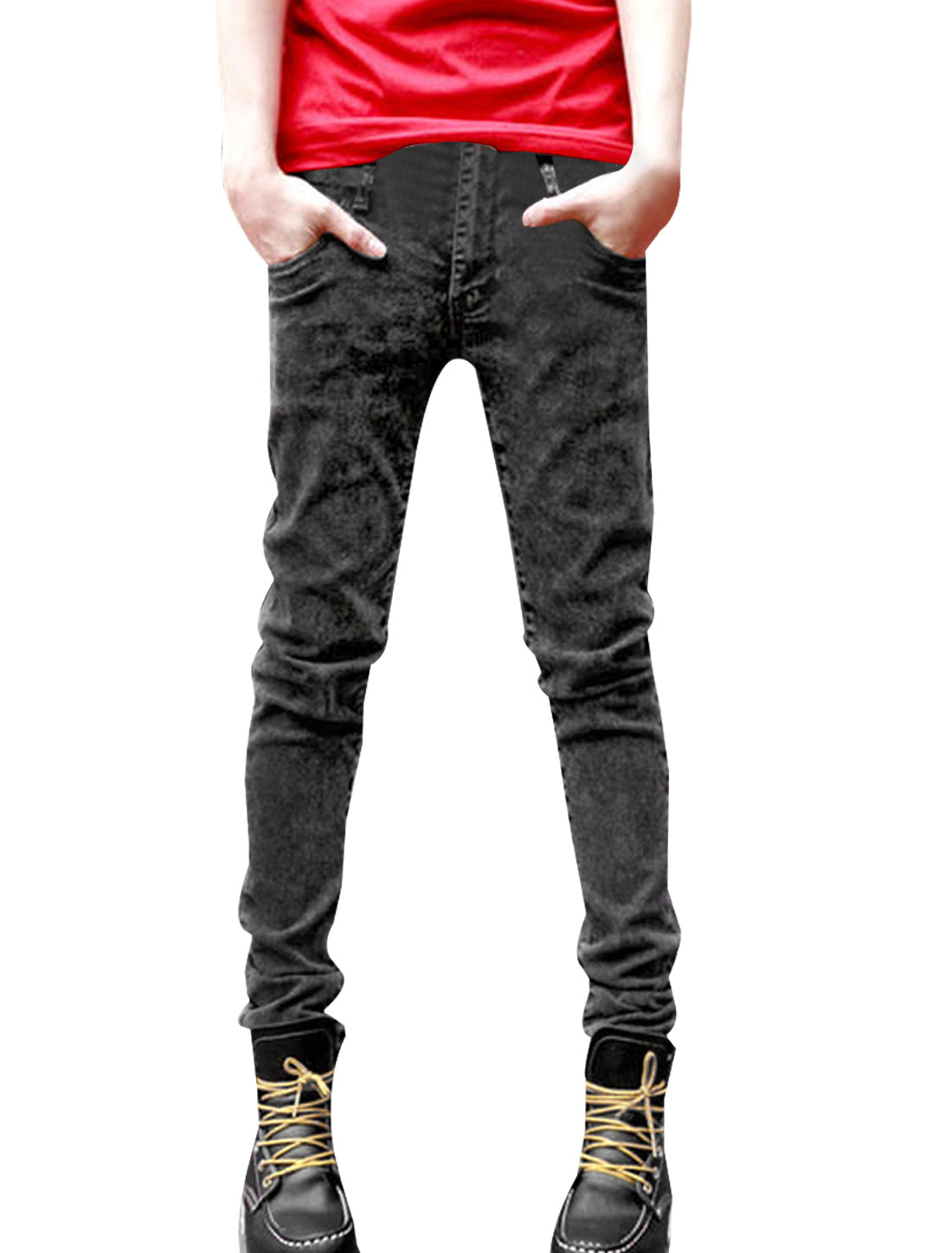 Fashion Low Rise Zip Fly Two Front Pockets Mens Dark Gray Skinny Jeans W30