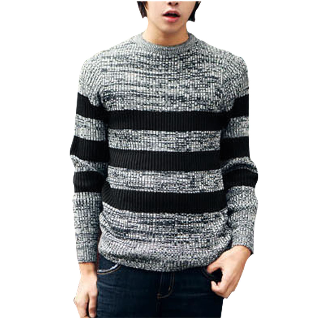 Men Black Gray Round Neck Pullover Stripes Decor Knit Shirt S
