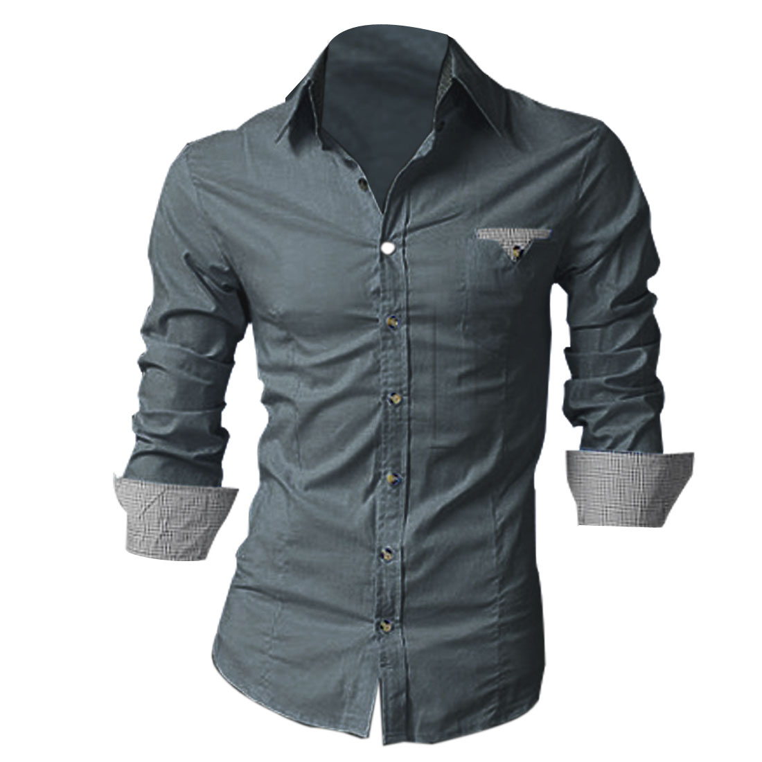 Mens Dark Gray Point Collar Round Hem Button Closure Casual Simple Shirt M