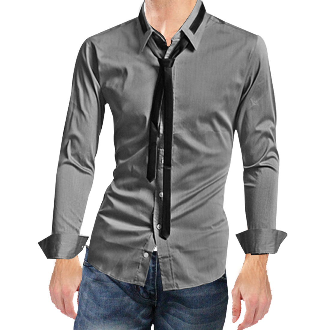 Mens Dark Gray Stylish Round Hem Solid Color Single Breasted Leisure Shirt M