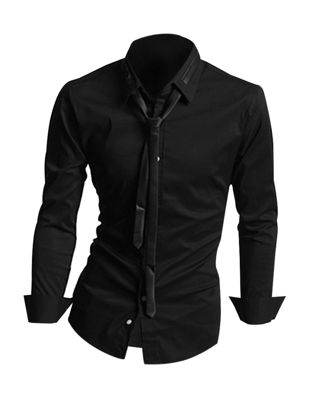 Men Black NEW French Cuff Solid Color Single Breasted Casual Shirt M
