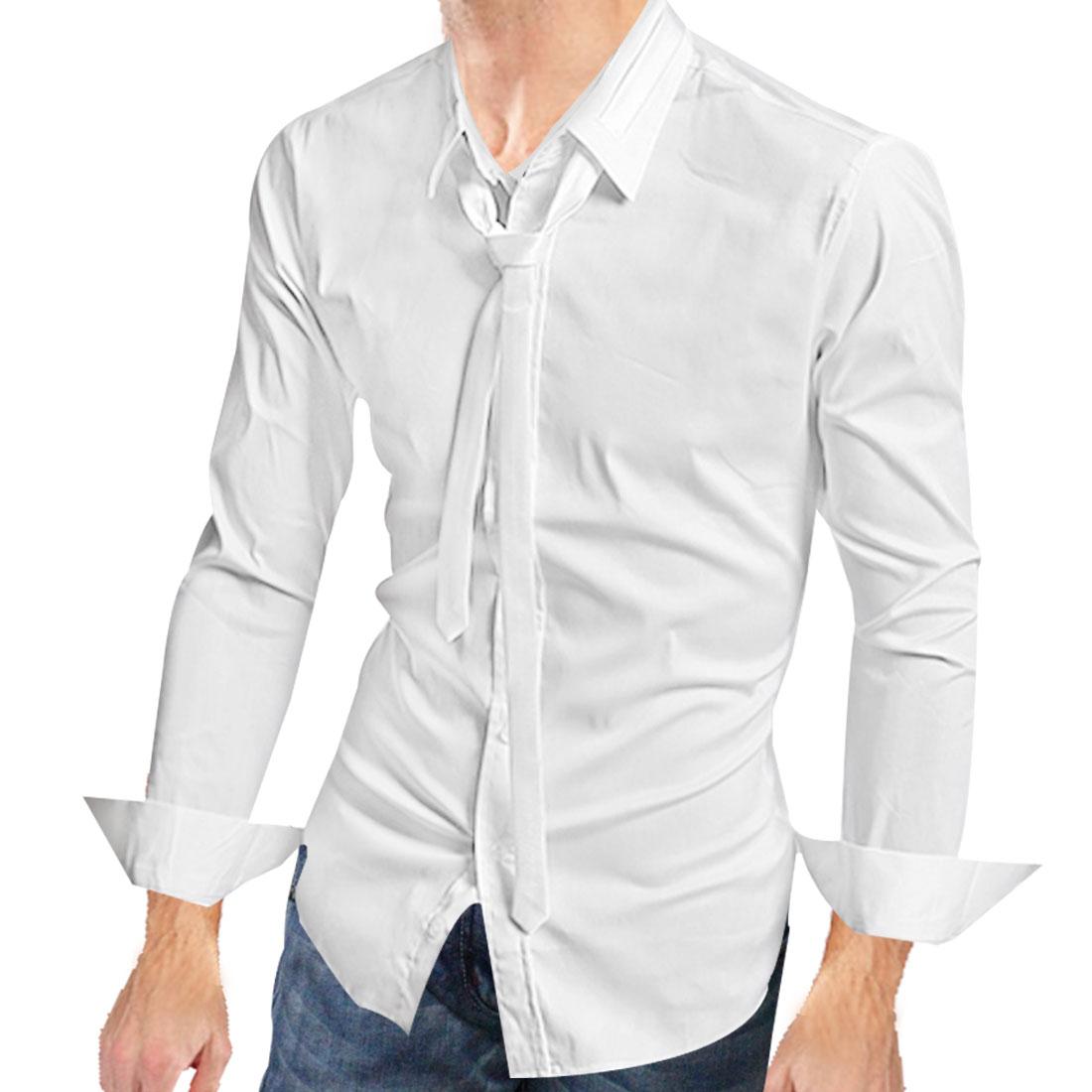 Mens White Fashion Long Sleeve Button Down French Cuff Slim Fall Shirt S