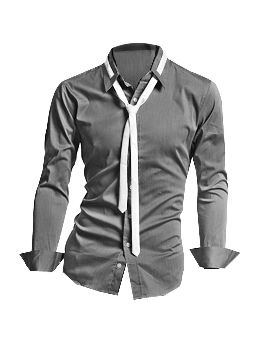 Men Dark Gray NEW Point Collar Button Closure Round Hem Simple Slim Shirt S