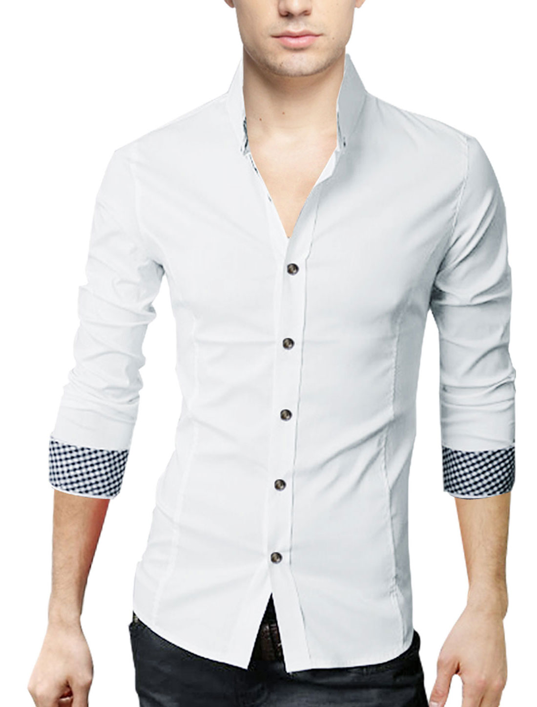 Men White Single Breasted Round Hem French Cuff Long Sleeve Casual Shirt S