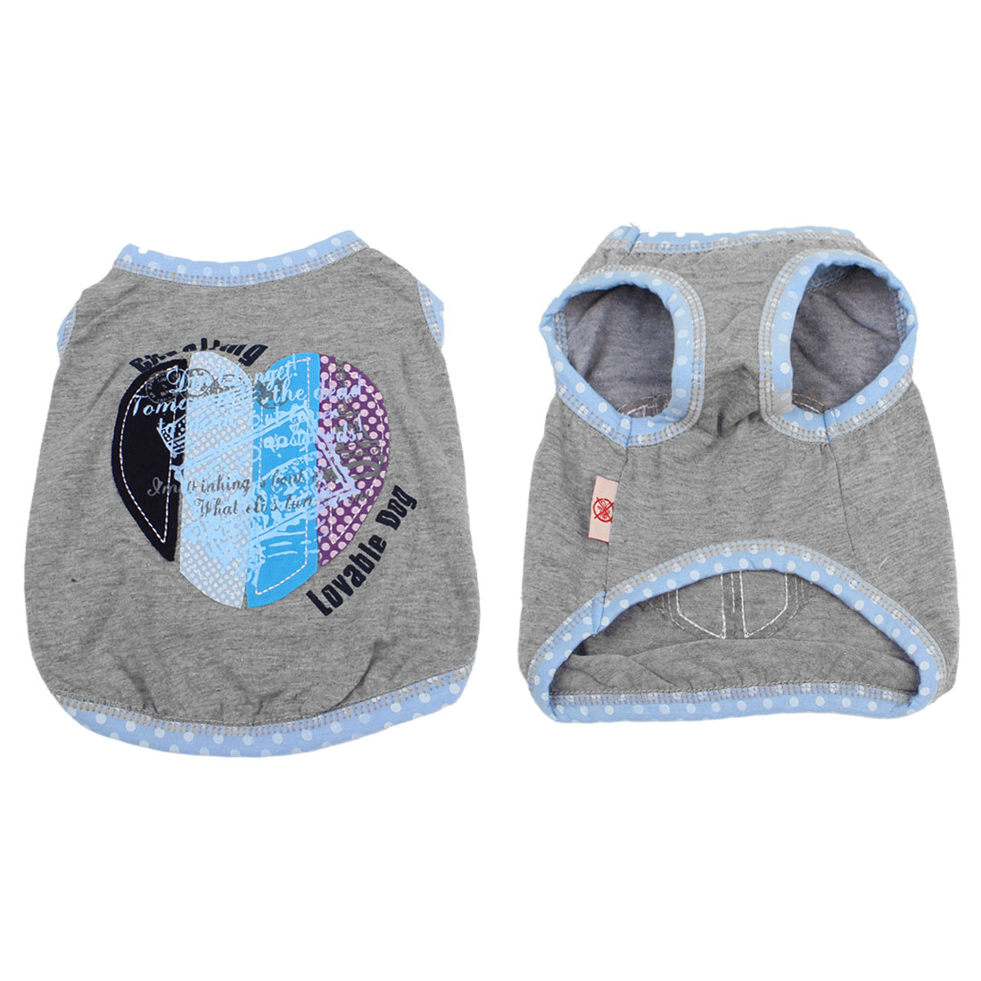 Heart Decor Polka Dot Neck Dog Tank Top Puppy Pet Clothes Gray XS