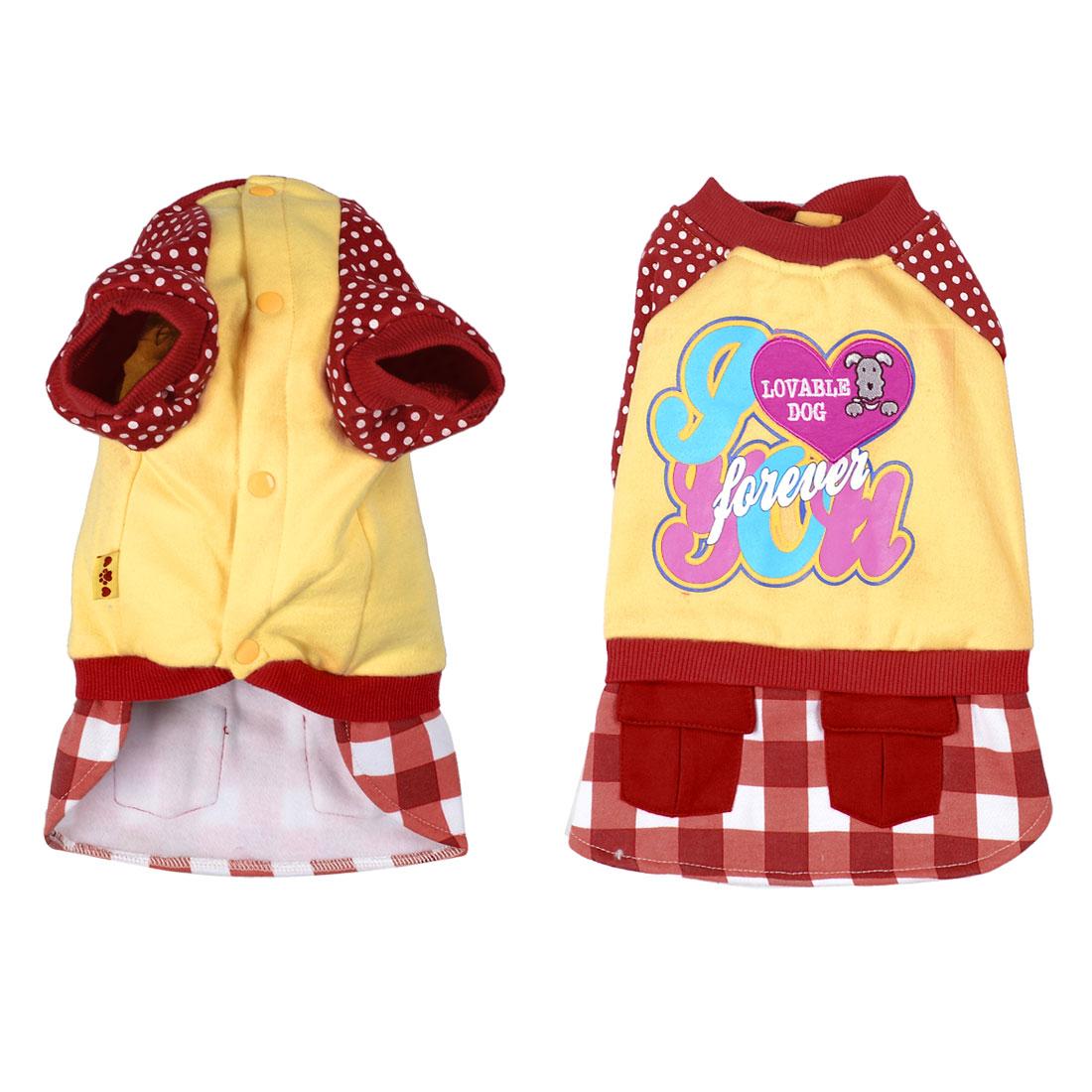 Warm Plaid Polka Dot Pet Dog Clothes Winter Coat Dress Shirt Apparel Yellow Sz M
