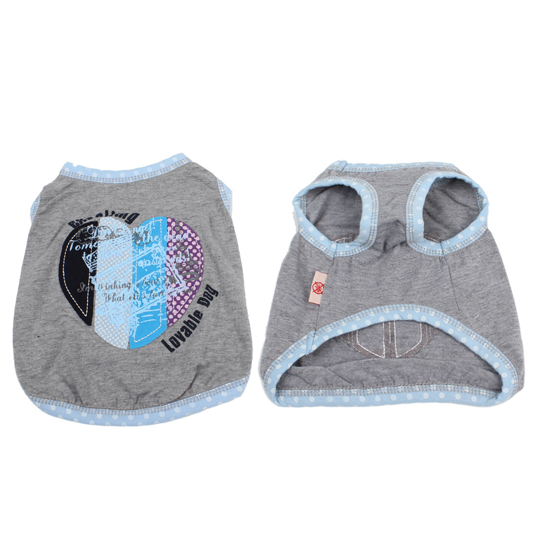 Letter Print Heart Decor Polka Dot Dog Tank Top Puppy Pet Clothes Gray L