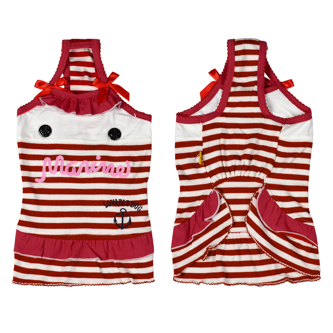 Bowknot Striped Dog Tank Top Dress Puppy Pet Apparel White Red L