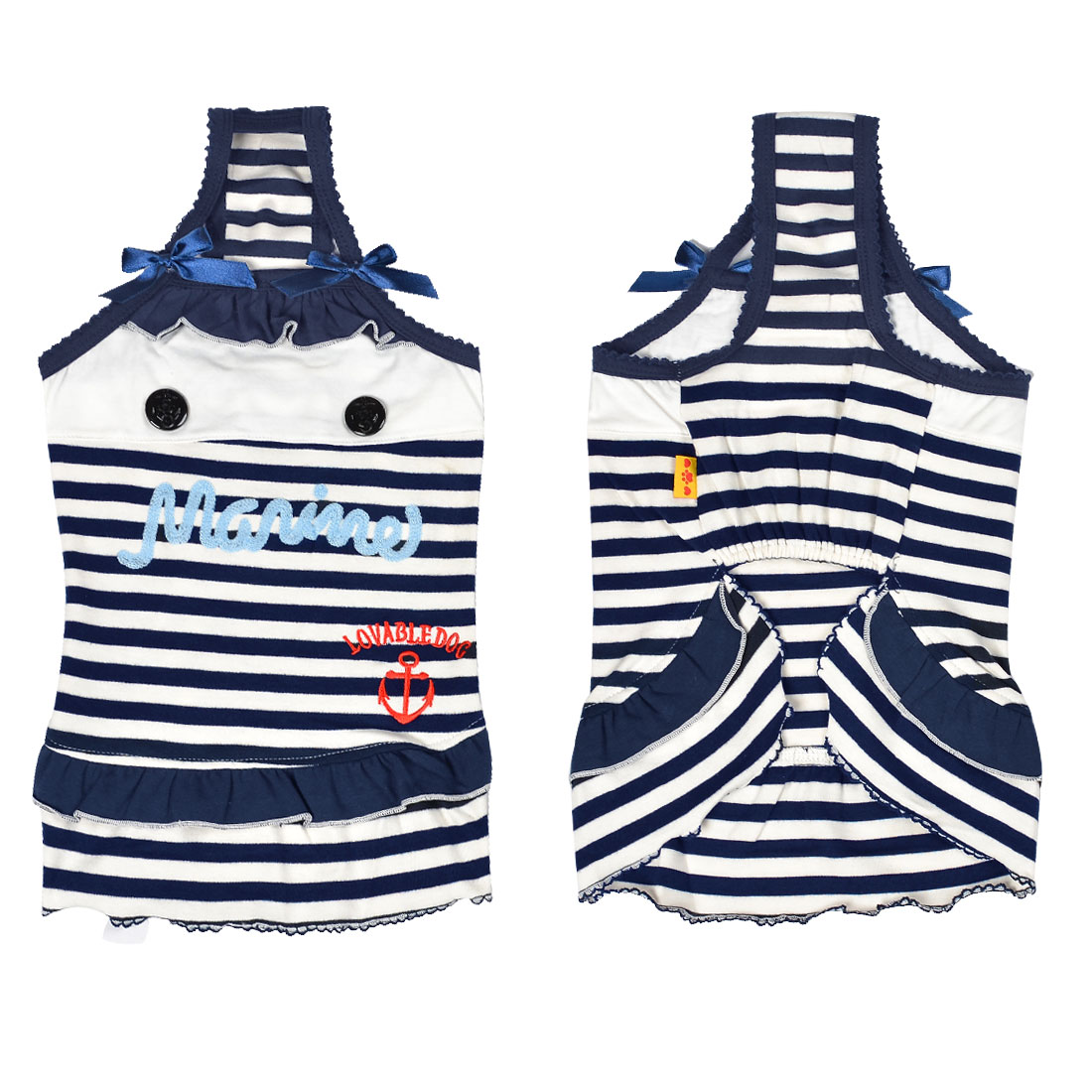 Sleeveless White Dark Blue Striped Pet Dog Dress Skirts Shirts Apparel L