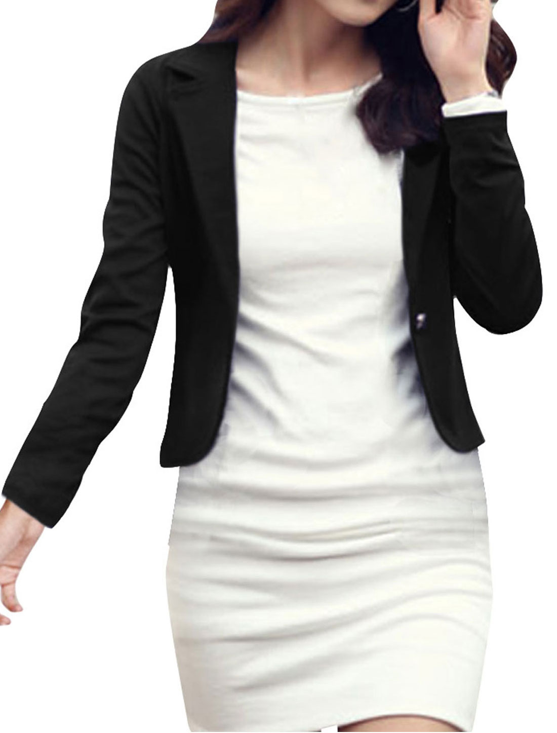 Ladies Black Long Sleeves One Button Autumn Blazer XS