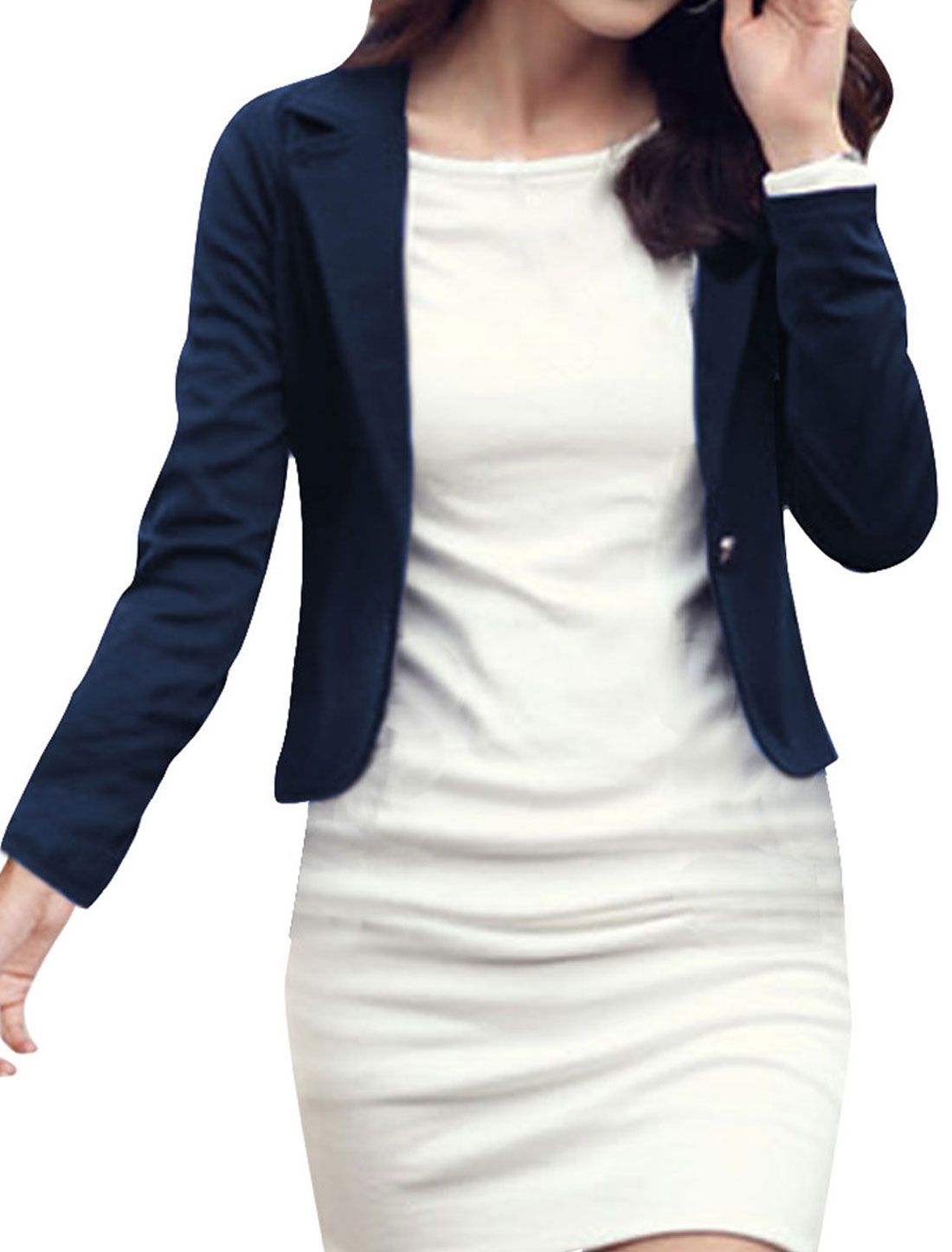 Ladies Dark Blue Notched Lapel Tailored Short Blazer XS