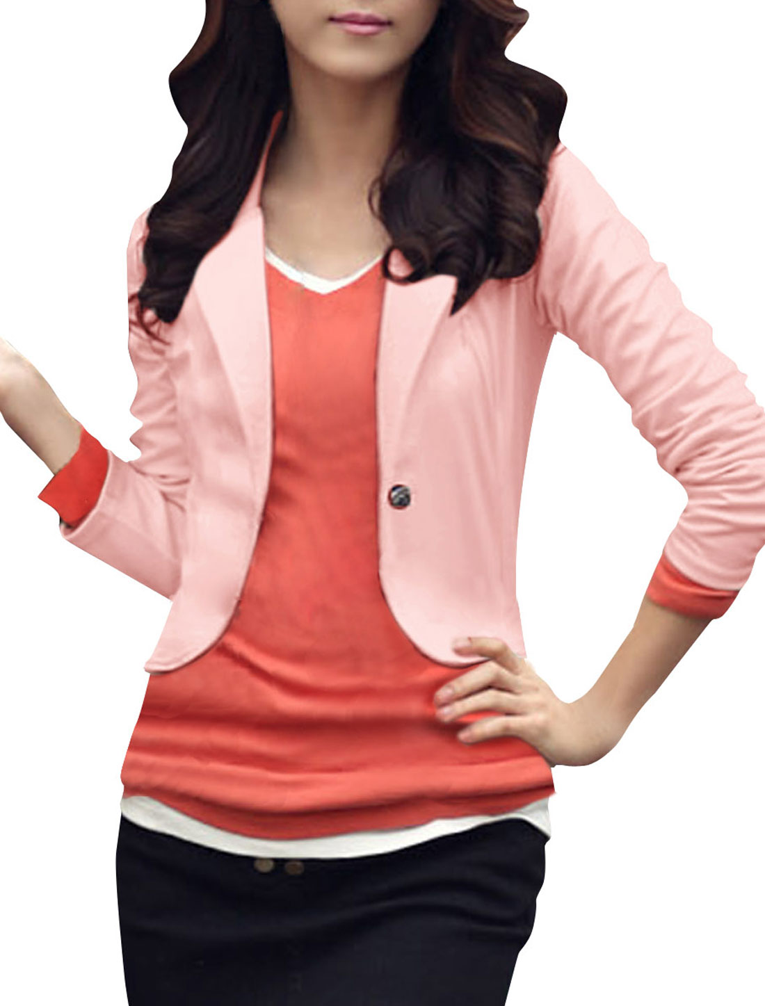 Ladies Pink Long Sleeves Form Fitting Casual Blazer XS
