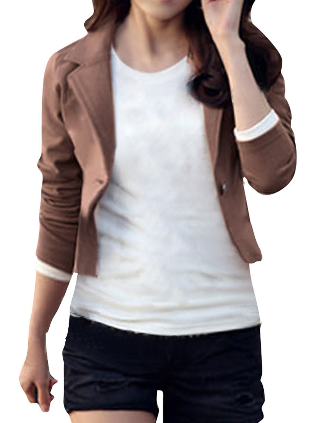 Ladies Coffee Long Sleeves Notched Lapel Autumn Blazer XS