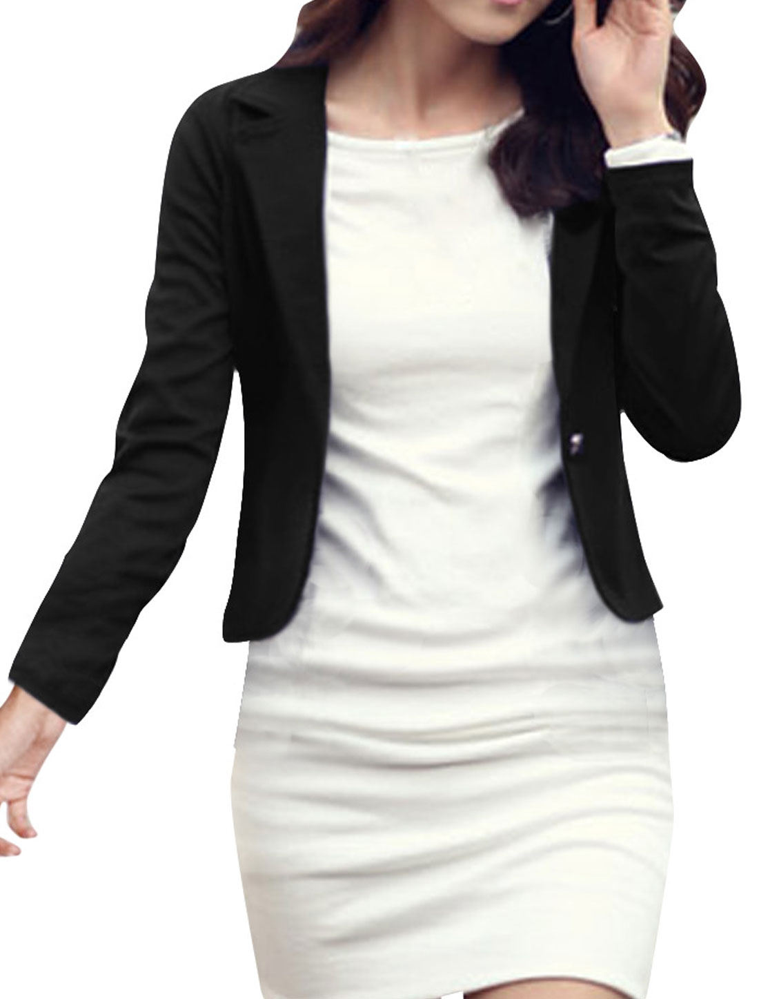Ladies Black Soild Color Long Sleeves Casual Blazer S
