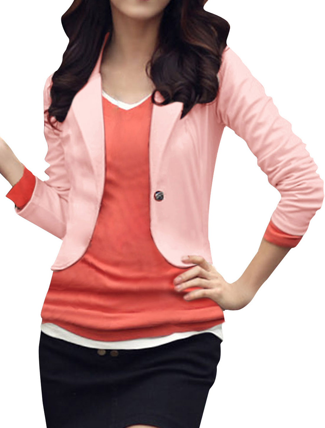 Women Pink Notch Lapel Long Sleeve Solid Color Spring Blazer S