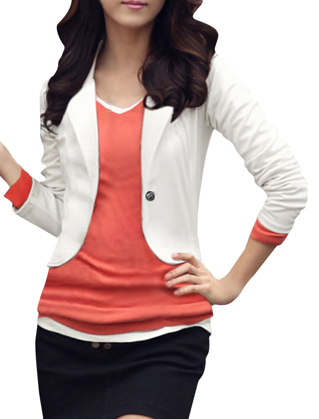 Women White Long Sleeve Single Button Solid Color Spring OL Blazer Coat M