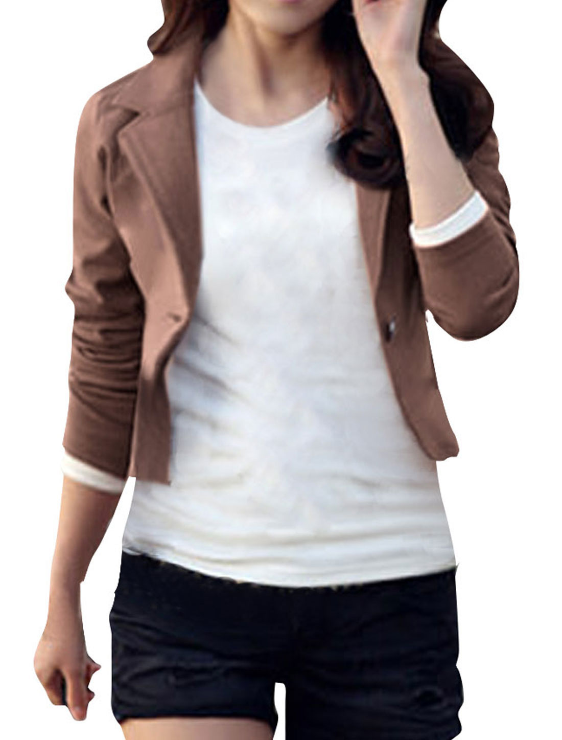 Women Coffee Notch Lapel Solid Color One Button Stylish Spring Blazer M