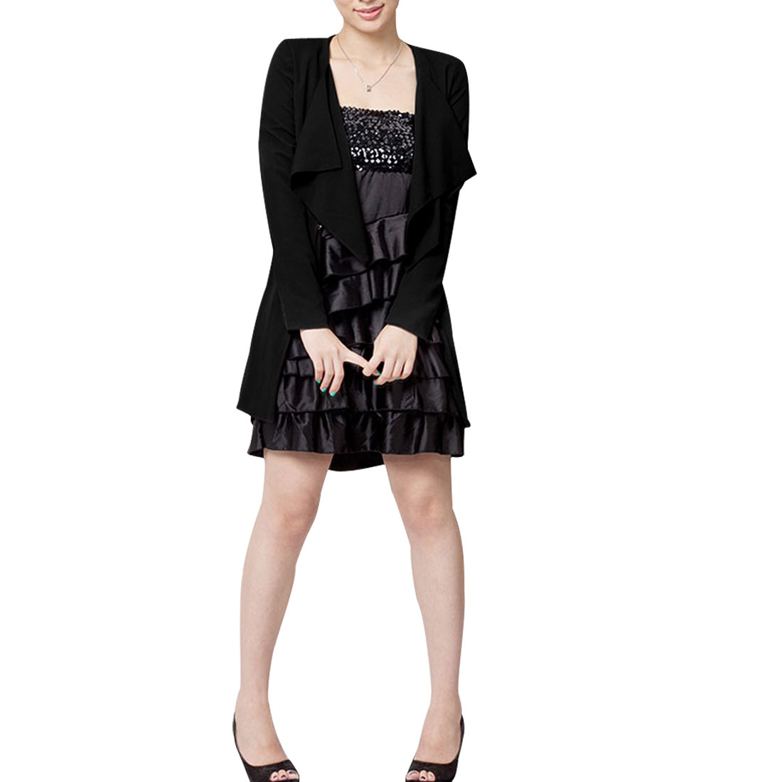 Ladies Black Long Sleeves One Hook Eye Stylish Blazer S