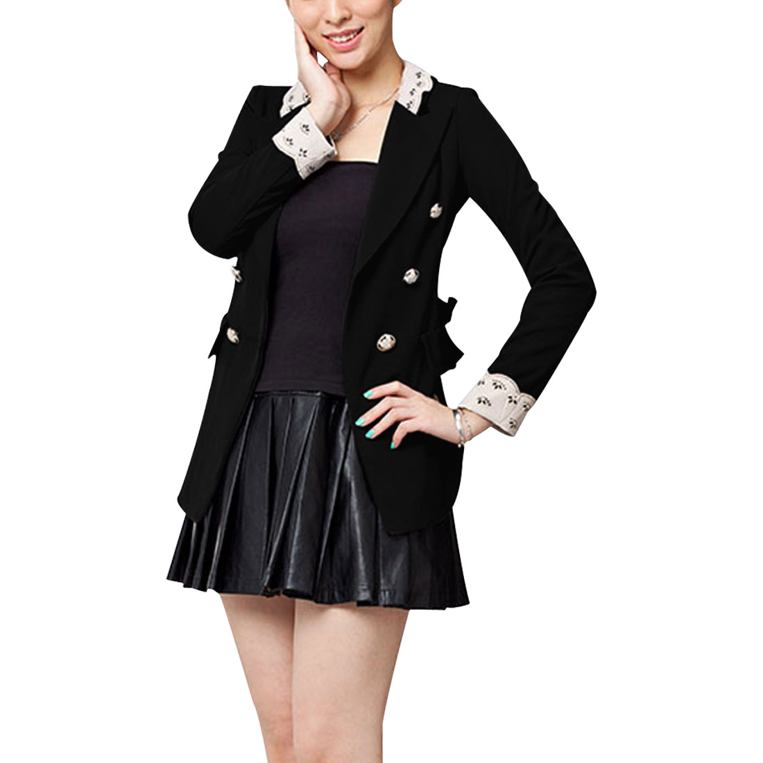 Women Peaked Lapel Double Breasted Blazer Coat Black S