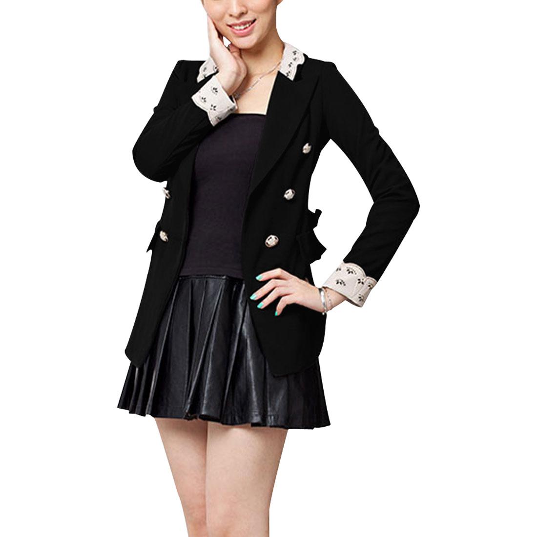 Women Peaked Lapel Double Breasted Blazer Coat Black S