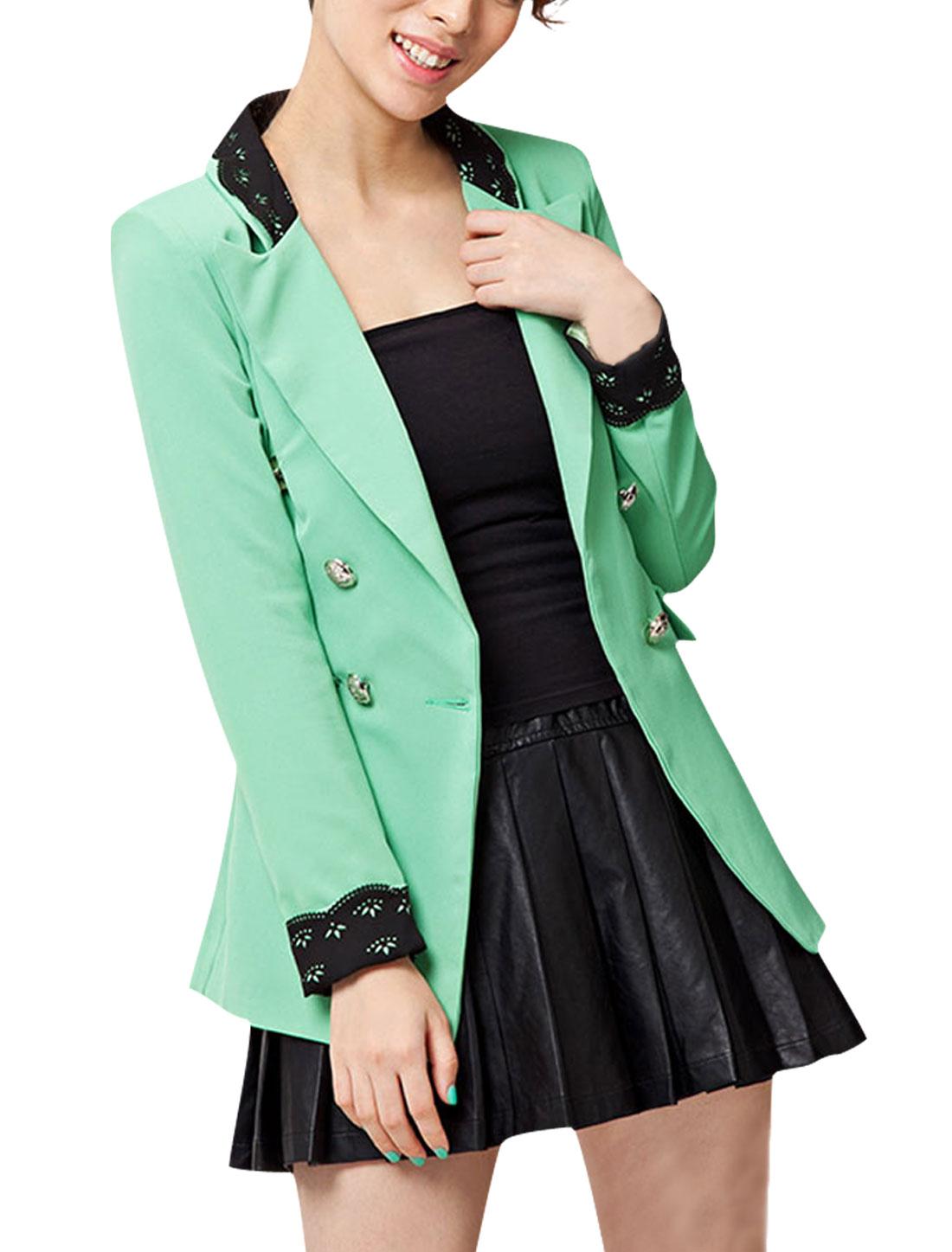 Women Peaked Lapel Double Breasted Slim Fit Blazer Coat Green S
