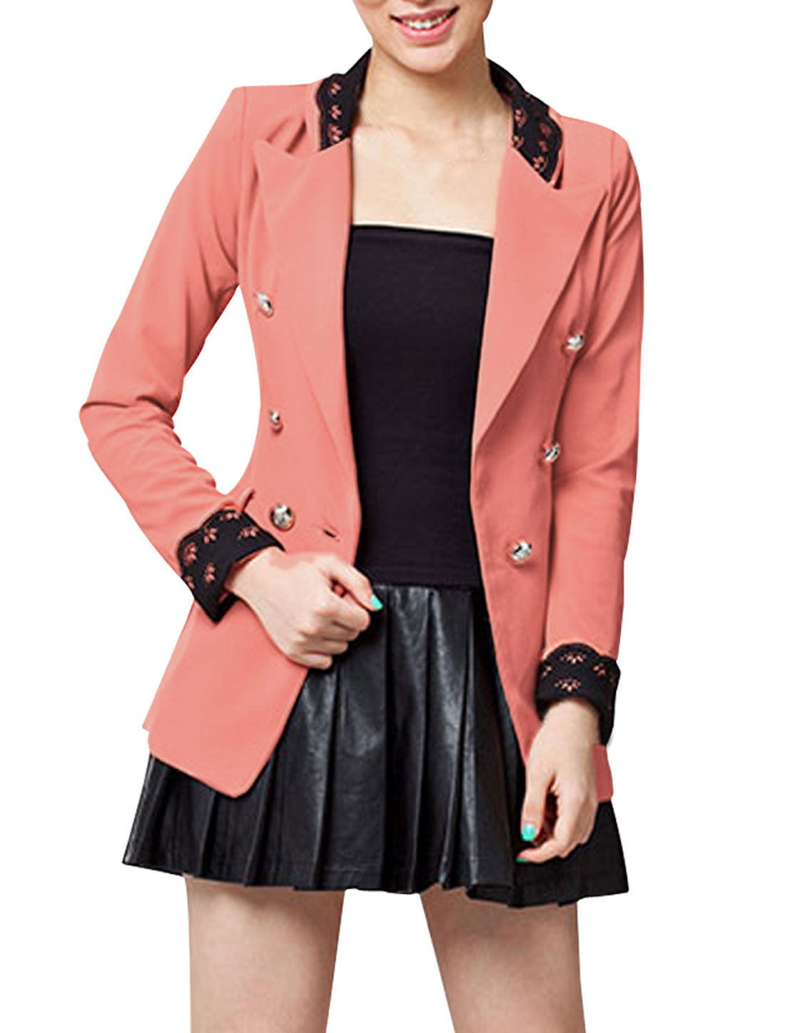 Women Peaked Lapel Double Breasted Slim Fit Blazer Coat Pink S