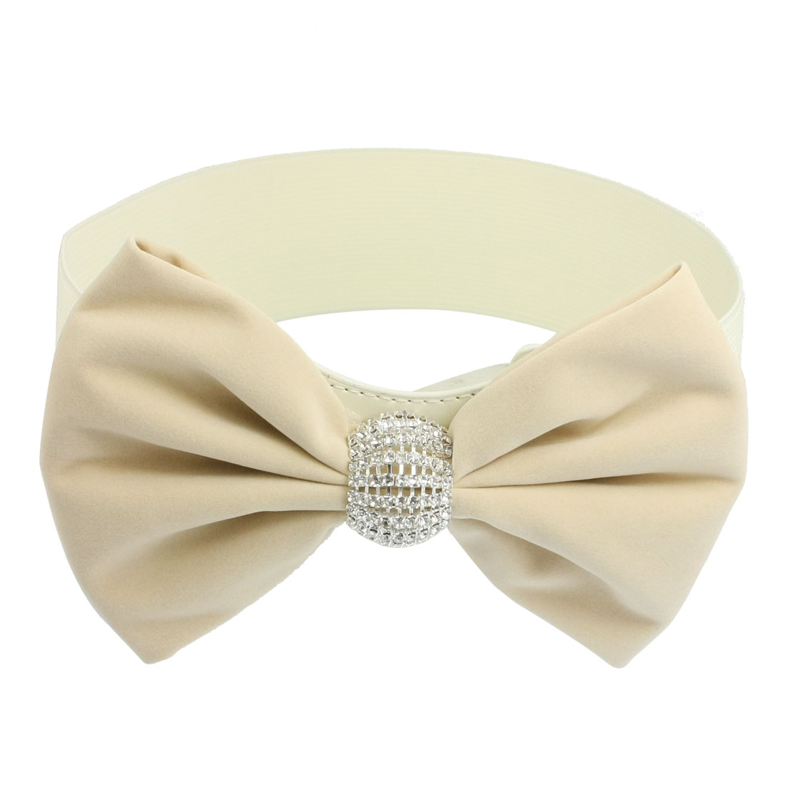 Rhinestone Decor Beige Bowknot Press Buckle Elastic Waistband Belt for Women