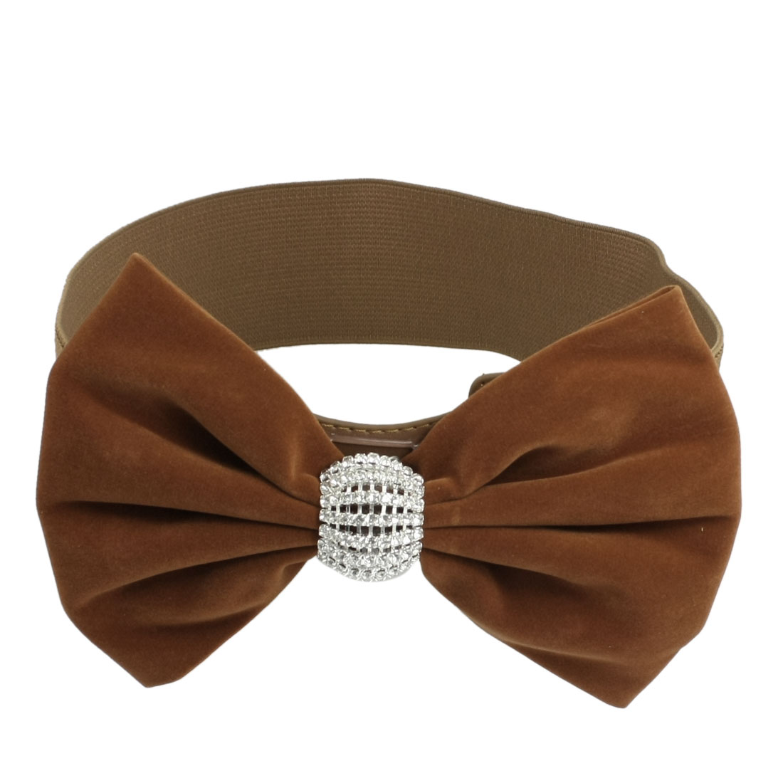 Rhinestone Decor Dark Brown Bowknot Press Buckle Elastic Waistband Belt for Women