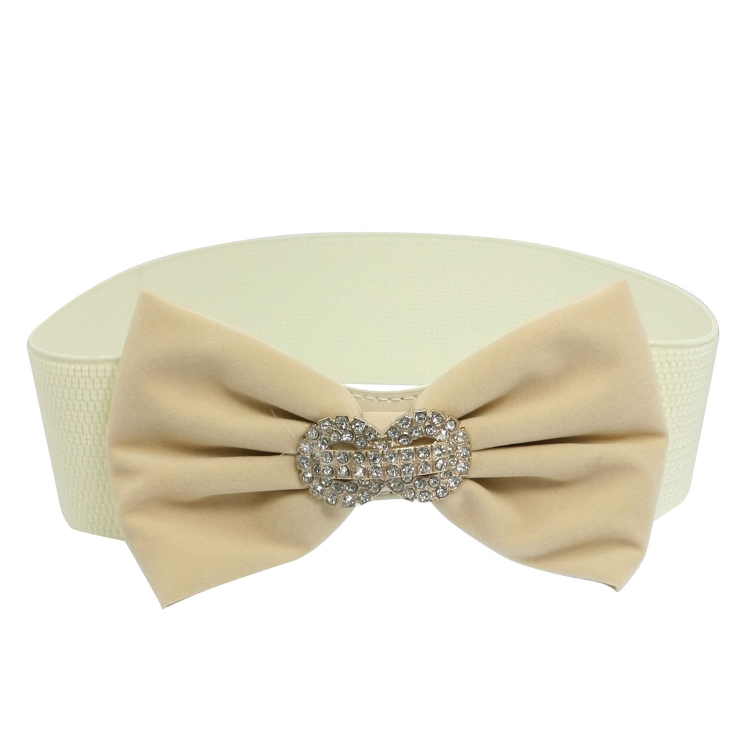 Lady Women Beige Bowknot Design Press Buckle Stretchy Waist Band Belt