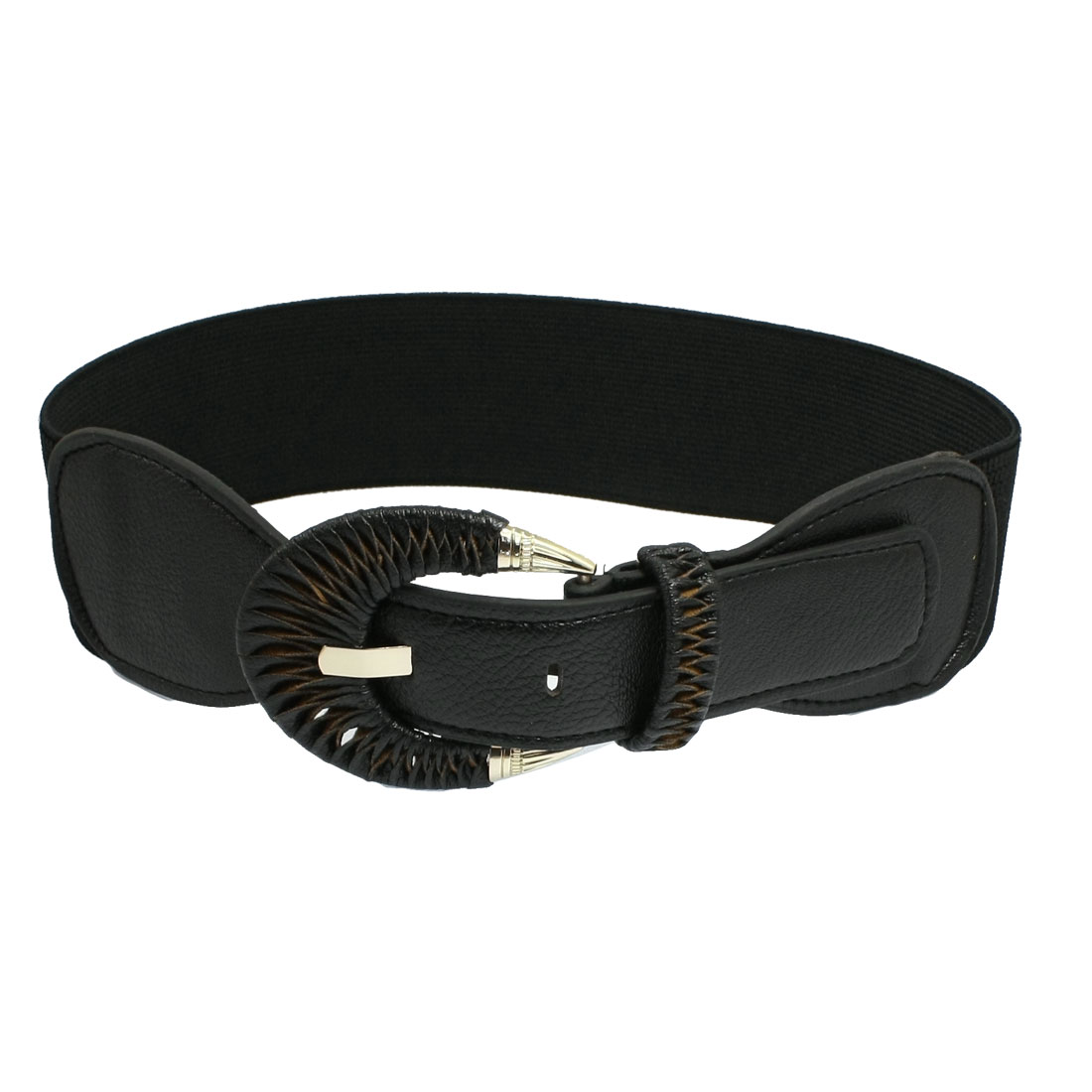 Metal One Pin Buckle Elastic Black Waistband Belt for Ladies