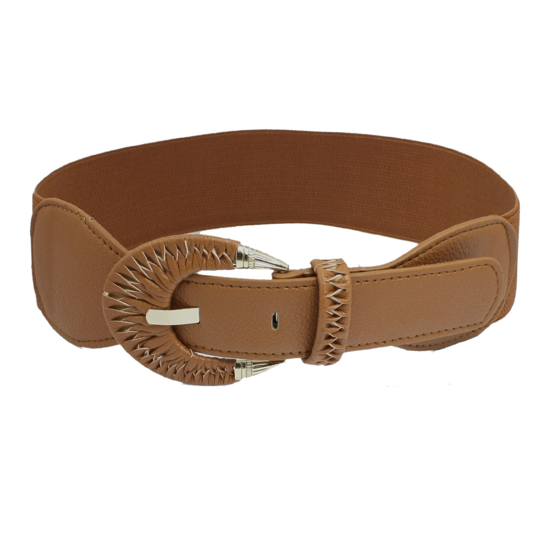 Metal Single Prong Buckle Elastic Brown Waistband Belt for Women