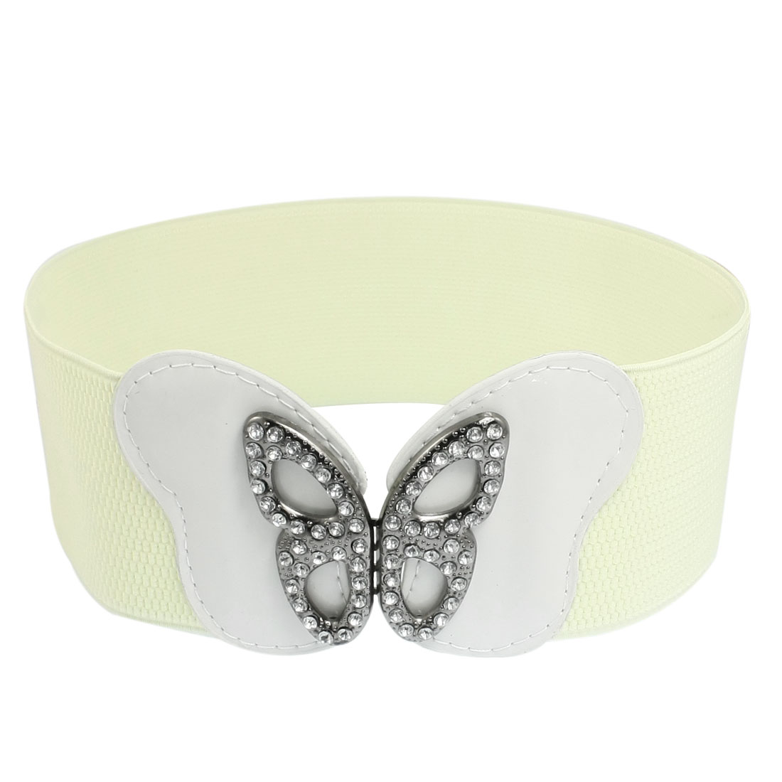 Metal Interlocking Buckle Butterfly Shape Beige Elastic Waistband Belt for Ladies