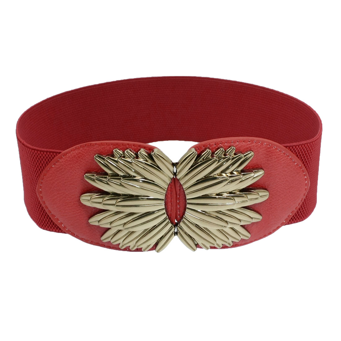 Metal Interlocking Buckle Red Elastic Waistband Belt for Women