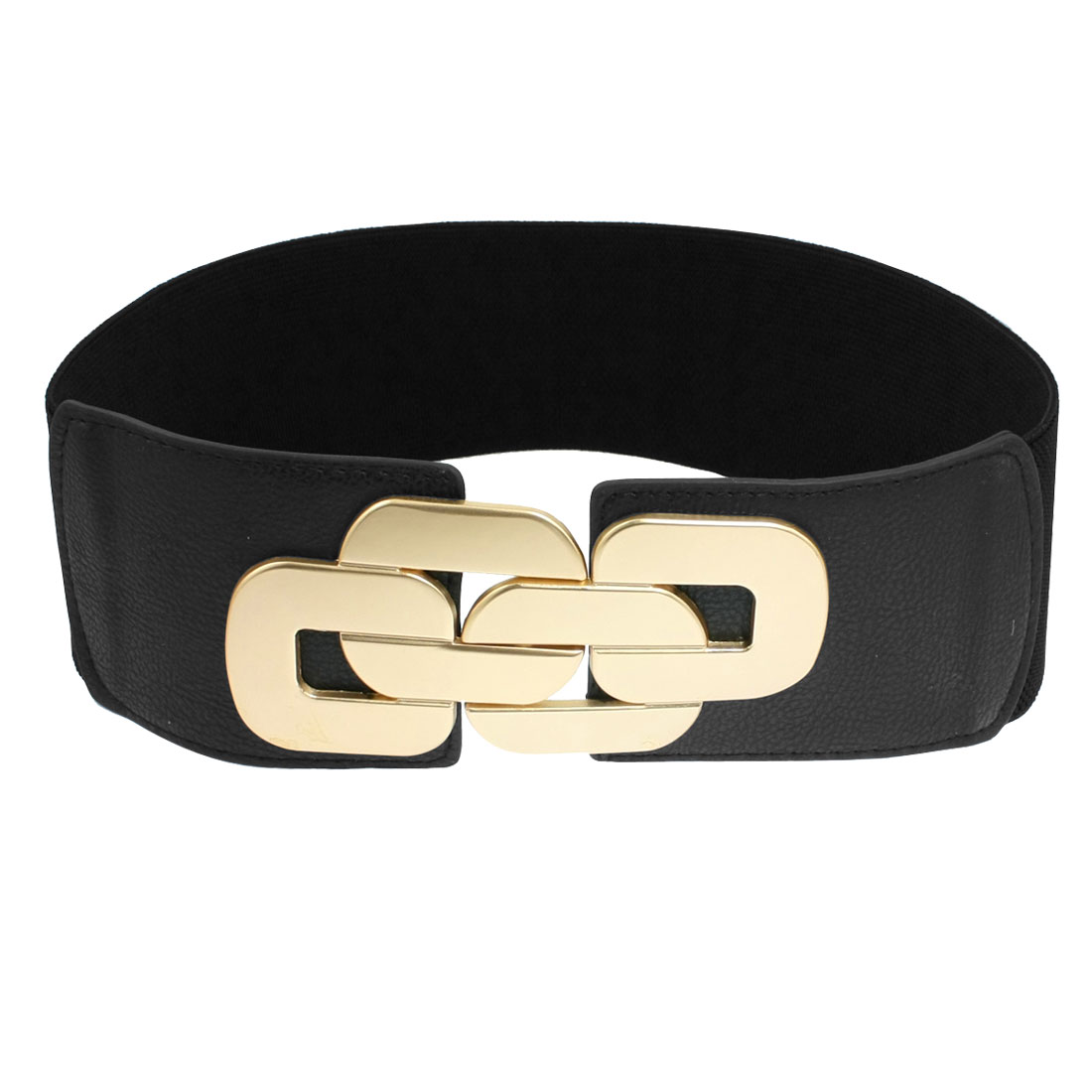 Gold Toen Metal Interlocking Buckle Black Elastic Waistband for Women