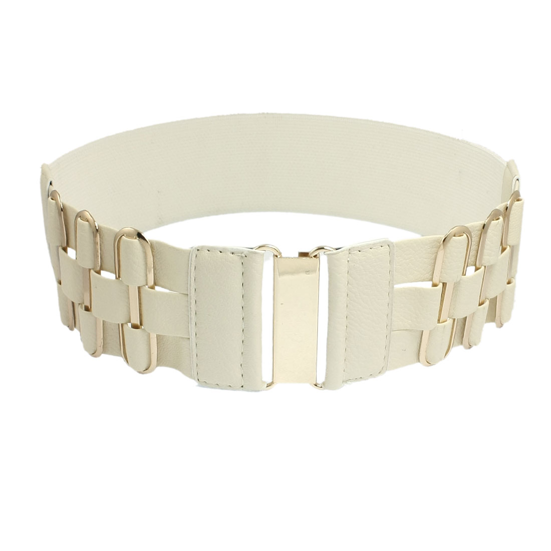 Interlocking Buckle Metal 6 Eyelets Decor Elastic Beige Waistband Belt for Ladies