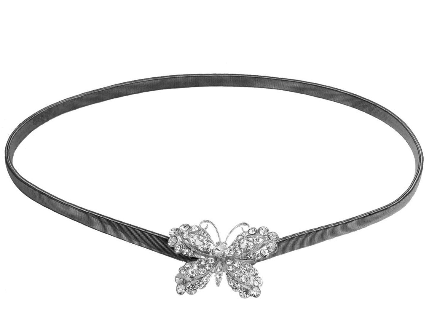 Faux Rhinetaone Detail Butterfly Shape Gray Metal Elastic Waist Chain for Lady