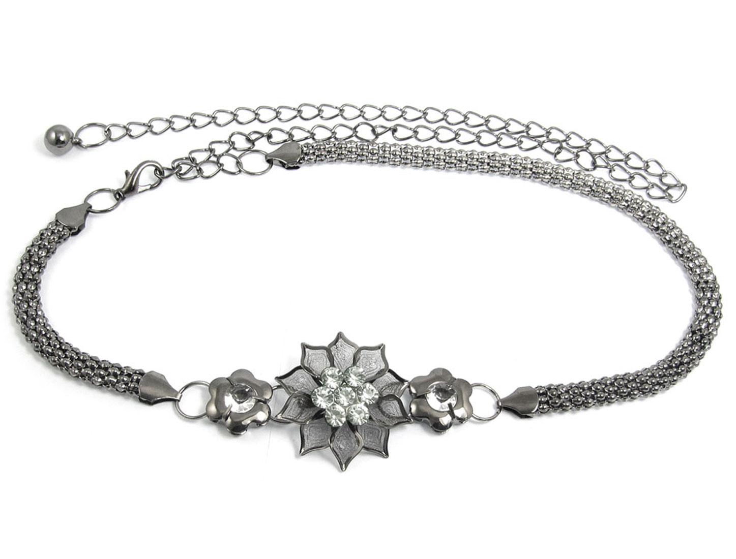 Lady Clear Faux Rhinestone Decor Gray Metal Flower Pattern Belt Chain