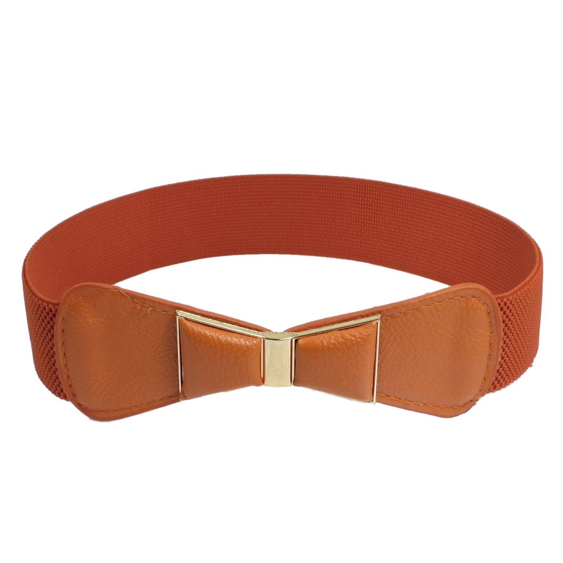 Gold Tone Metal Interlocking Buckle Orange Stretchy Waistband Belt for Ladies