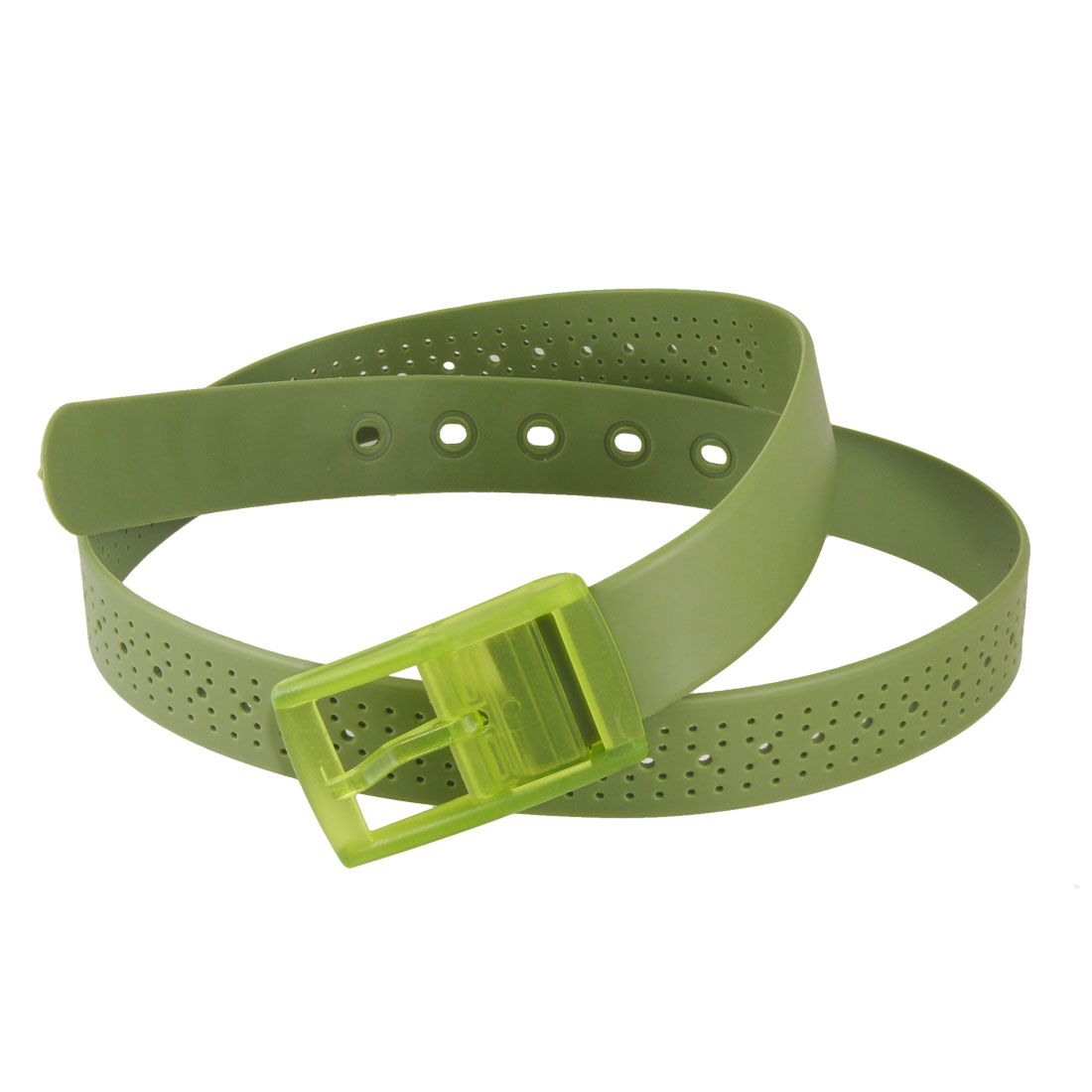 "Lady Single Pin Buckle 1.3"" Wide Plastic Scented Belt Olive Green"