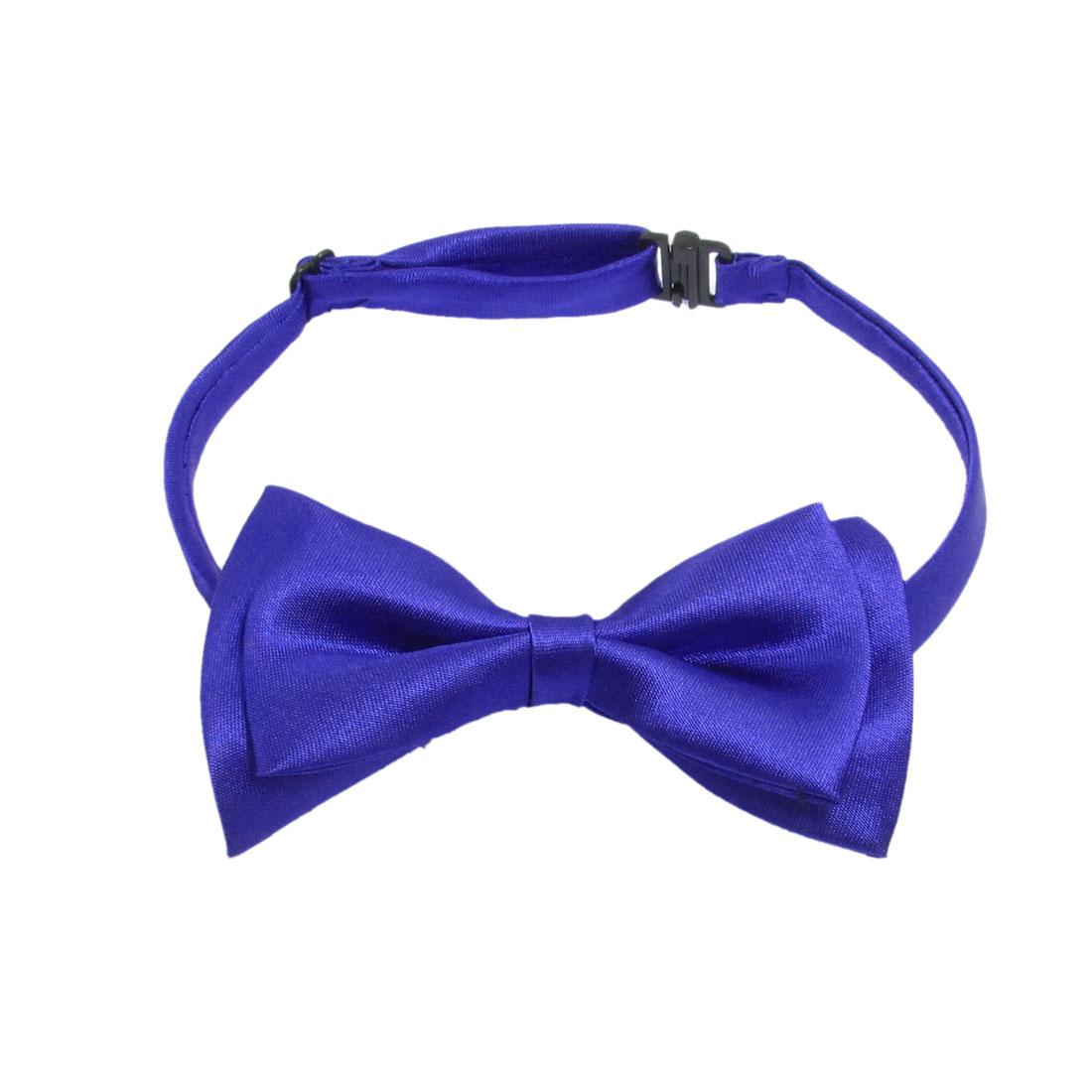 "Men's 4"" Width Blue Two Layer Bowknot Plastic Interlock Buckle Bow Tie"