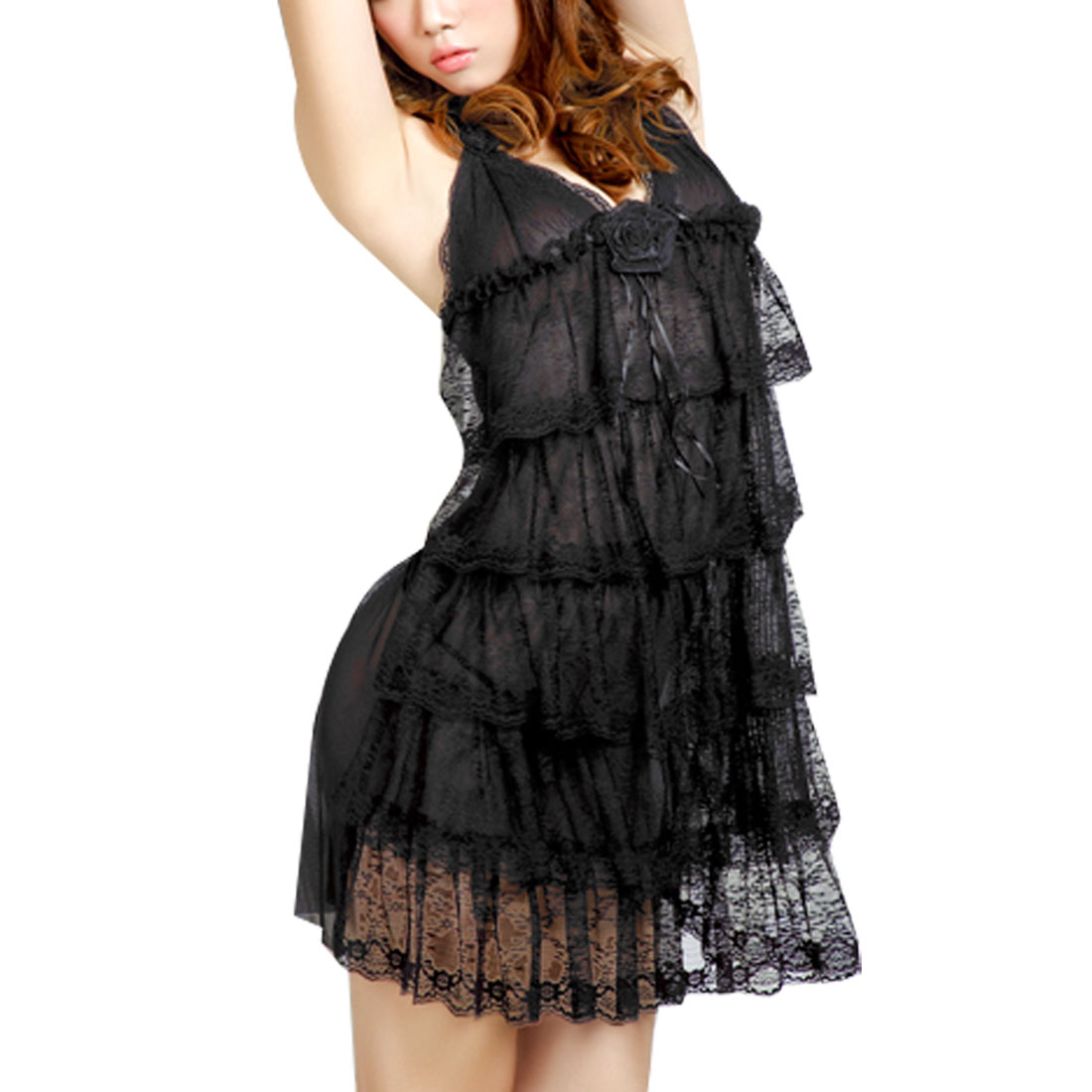 Ladies Black Sheer Deep V Neck Tiered Sexy Lingerie Dress G-String XS